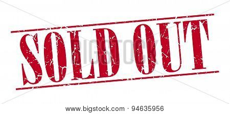 Sold Out Red Grunge Vintage Stamp Isolated On White Background