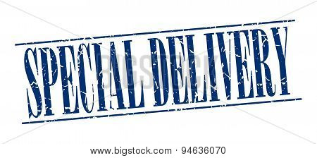 Special Delivery Blue Grunge Vintage Stamp Isolated On White Background