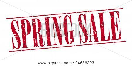 Spring Sale Red Grunge Vintage Stamp Isolated On White Background