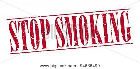 Stop Smoking Red Grunge Vintage Stamp Isolated On White Background