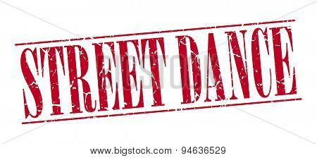 Street Dance Red Grunge Vintage Stamp Isolated On White Background