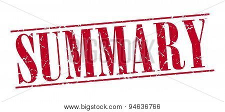 Summary Red Grunge Vintage Stamp Isolated On White Background