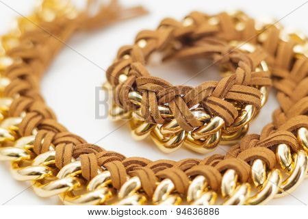 Chain and Leather Jewelry Statement Necklace