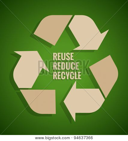 Ecology concept. Reuse, Reduce, Recycle concept on green background. Vector illustration.