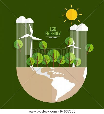 Ecology concept. Paper cut of Globe and tree on green background. Vector illustration.