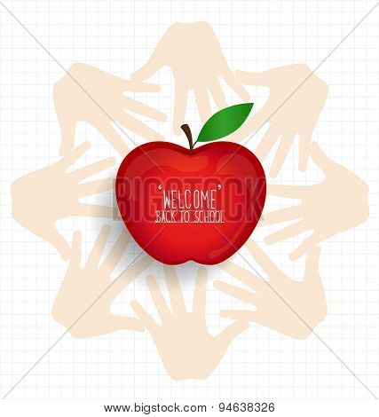 Welcome back to school with hands and apple, vector illustration.