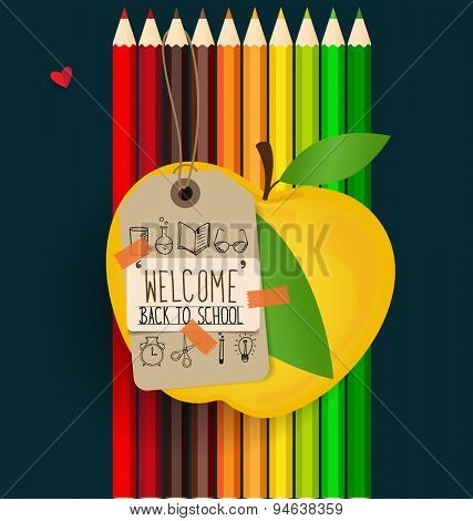 Welcome back to school with paper note and color pencils background, vector illustration.