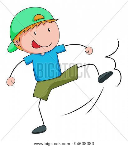 Boy with a kicking pose on a white background