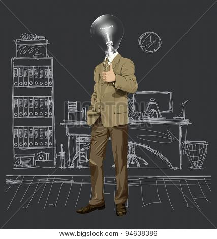 Vector hipster lamp head business man have an idea and shows well done