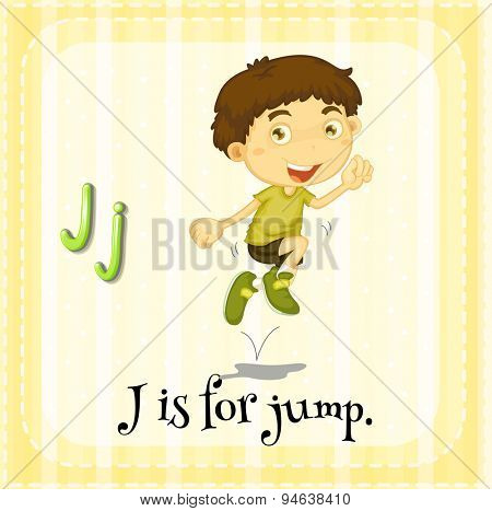 Flashcard of an alphabet J with a boy jumping