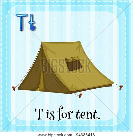 Flashcard of alphabet	 T with a tent