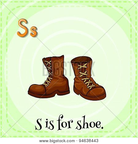 Flashcard of alphabet S with a pair of brown shoes
