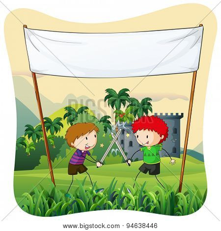 Poster of two boys doing role play with swords
