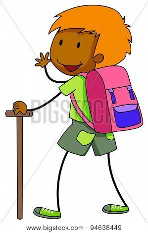 Boy carrying a bag and holding a stick going for camping