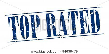 Top Rated Blue Grunge Vintage Stamp Isolated On White Background