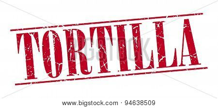 Tortilla Red Grunge Vintage Stamp Isolated On White Background