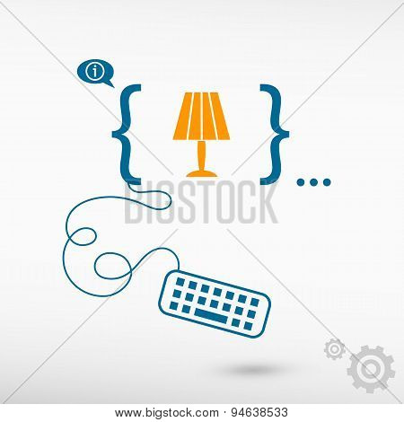 Table Lamp Icon And Flat Design Elements