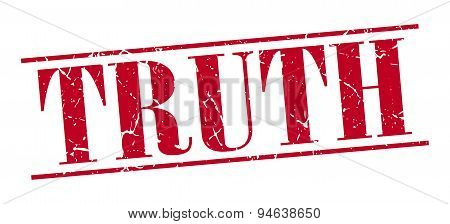 Truth Red Grunge Vintage Stamp Isolated On White Background