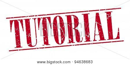 Tutorial Red Grunge Vintage Stamp Isolated On White Background
