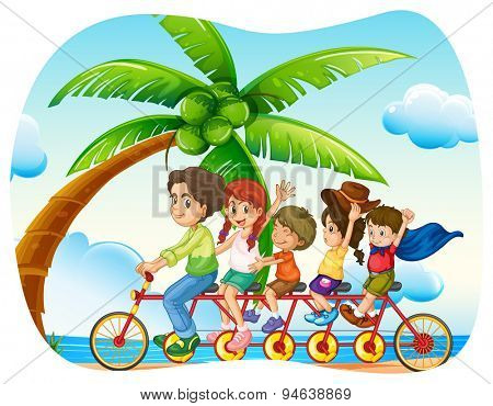 Poster of a family cycling at the beach