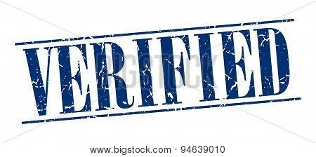 Verified Blue Grunge Vintage Stamp Isolated On White Background