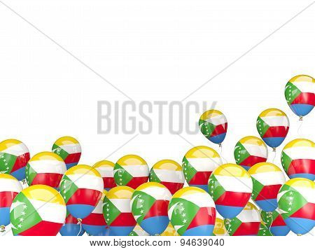 Flying Balloons With Flag Of Comoros