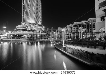 DUBAI - OCTOBER 15: area near the Dubai Fountain on October 15, 2014 in Dubai, UAE. The Dubai Fountain is the world's largest choreographed fountain system set on the 30-acre manmade Burj Khalifa Lake