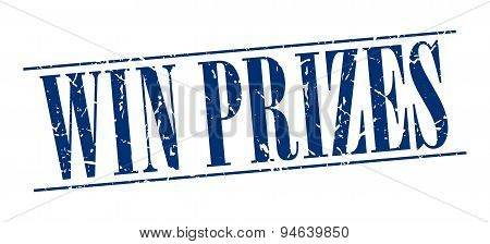 Win Prizes Blue Grunge Vintage Stamp Isolated On White Background