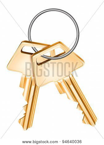 Golden Keys, Isolated. Vector Illustration