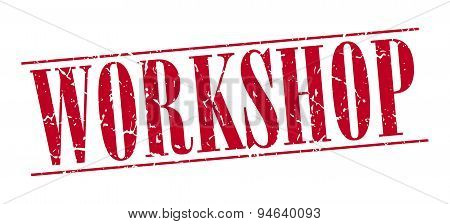 Workshop Red Grunge Vintage Stamp Isolated On White Background
