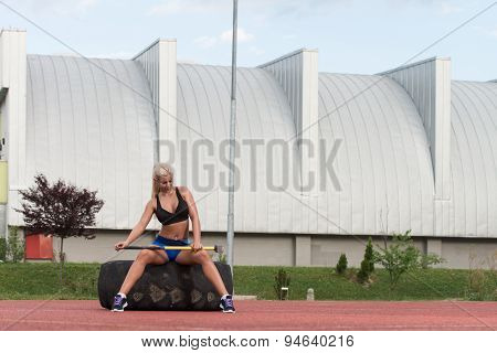 Healthy Woman Resting After Exercise