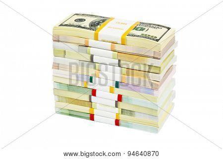 Money stacks isolated on white background