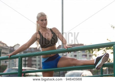 Young Woman Exercise Fitness Sport And Strech