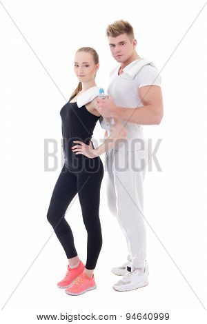 Healthy Lifestyle Concept - Beautiful Slim Woman With Personal Trainer Isolated On White