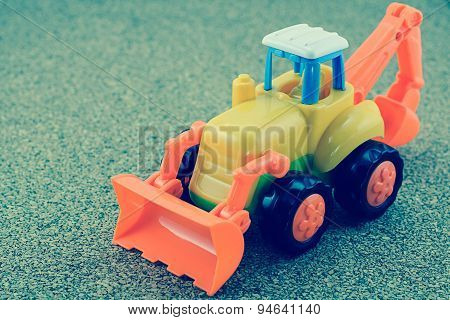Vintage Style Tractor Backhoe Toy