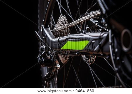 close-up of a mountain bike, studio shot.