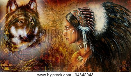 One Dollar Collage With Indian Woman Warrior And Wolf, Ornament Background