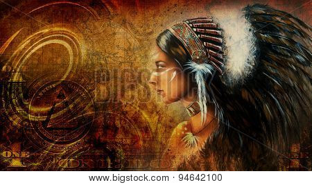 One Dollar Collage With Indian Woman Warrior, Ornament Background