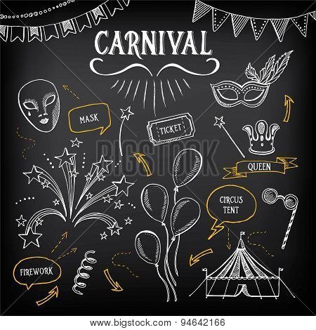 Carnival icons, sketch design.