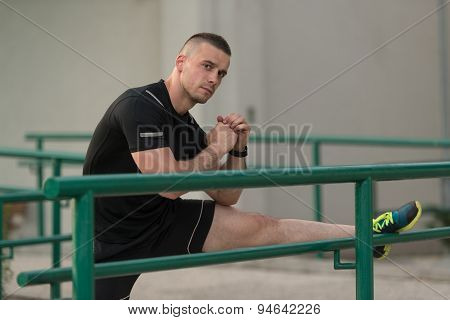 Young Man Exercise Fitness Sport And Strech
