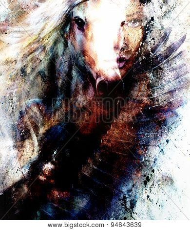 Painting Woman And  Horse With A Flying Eagle Beautiful Painting Illustration Collage.