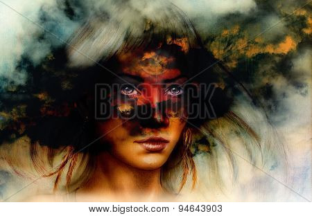 Woman Portrait, With Ornament Tattoo On Face And Feathers Jewels. And Fire Clouds Background.