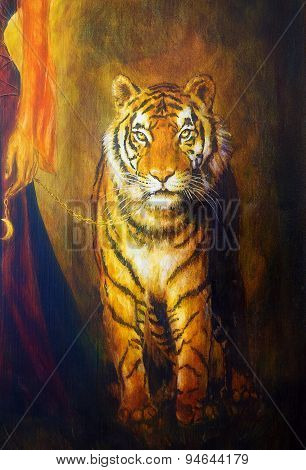 Tiger On A Leash  And Woman Hand, Color Oil Painting