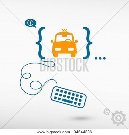 Taxi Icon And Flat Design Elements