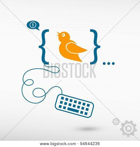 Bird Icon And Flat Design Elements