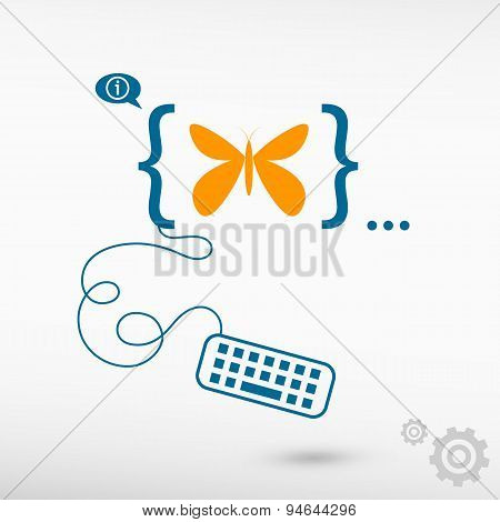 Butterfly And Flat Design Elements