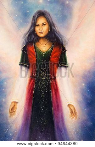 Fantastic Woman In Dress With Ornaments With Star In The Hands And Angel Wings. On Space, Star Syste