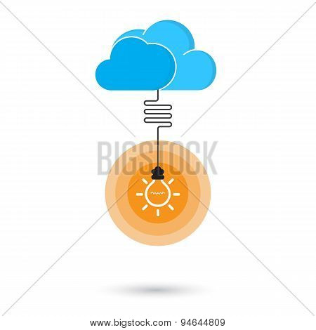 Flat Cloud And Creative Light Bulb Sign On Background For Education Or Business Concept.