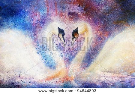 Romantic Two Swans On Abstract Structure Background.