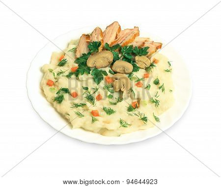 Mashed potatoes, mushrooms meat on a plate